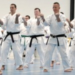 adults karate students training in brisbane